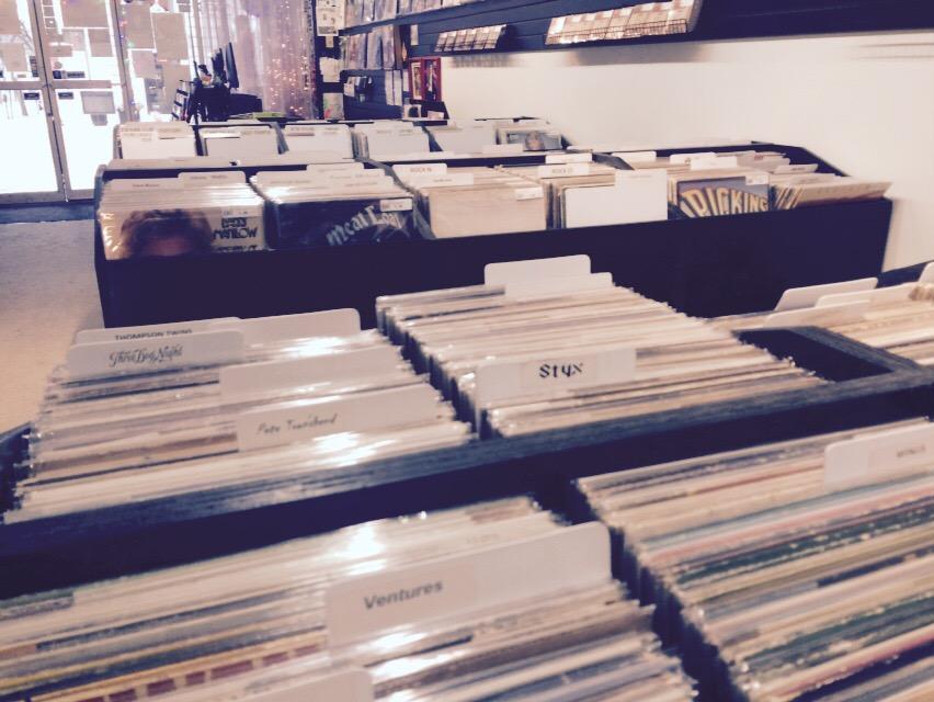 records, books, coffee
